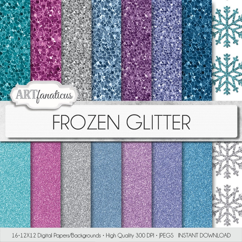 16 Frozen glitter digital papers Frozen Glitter image 0