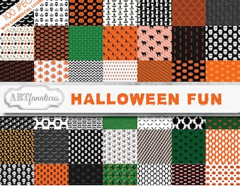 Big Bundle of Halloween Fun 100 Digital Papers with flying witches, smiling pumpkins, floating ghosts, candy corn, wax lips, boo, cats, bats