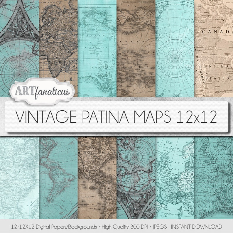 Vintage maps 12x12 digital papers VINTAGE PATINA MAPS image 0