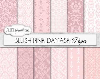 "Damask digital papers ""BLUSH PINK DAMASK"" elegant, pink, blush, white, damask for weddings, scrapbooking, invites, cards, and home décor"