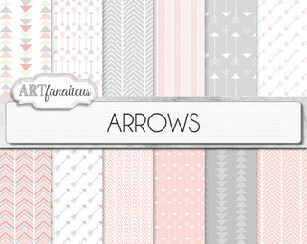 "Arrows Digital Papers: ""ARROWS"", chevron patterns, triangles, geometric pattern, colors include peach arrows, grey, pale pink arrows"
