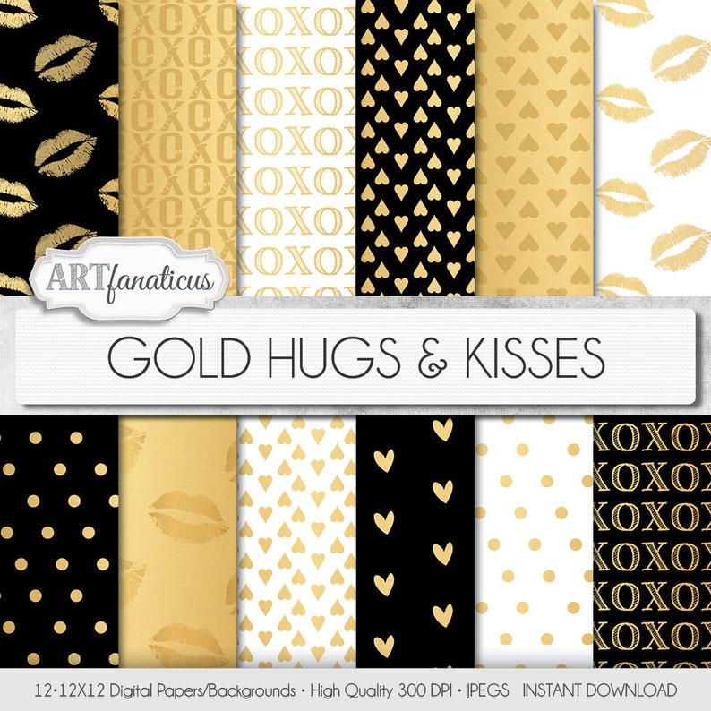 Shimmering Gold Digital Papers GOLD HUGS & KISSES image 0