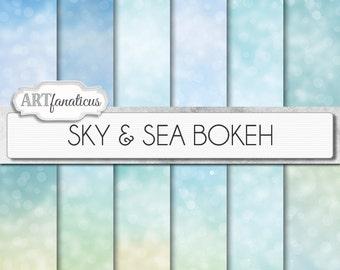 "Bokeh digital papers "" SEA & SKY BOKEH"" Bokeh Overlay, digital backgrounds, Blue, Bokeh Background for Photographers, invitations and more"