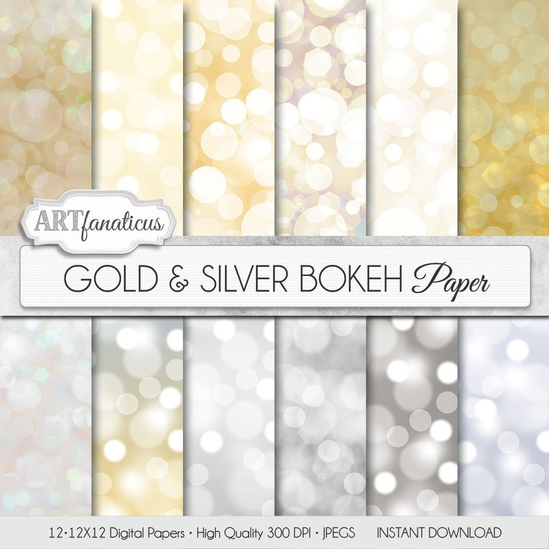 Digital papers bokeh Gold & Silver Bokeh Bokeh image 0