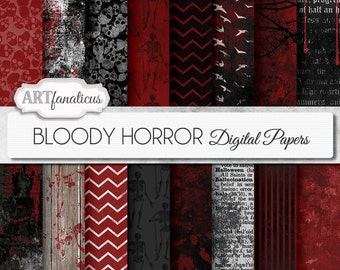 """Halloween digital papers """"BLOODY HORROR"""" Bloody Grunge Textures, skulls, bloody wood, gothic, chevron, dictionary, birds, bloody wall"""