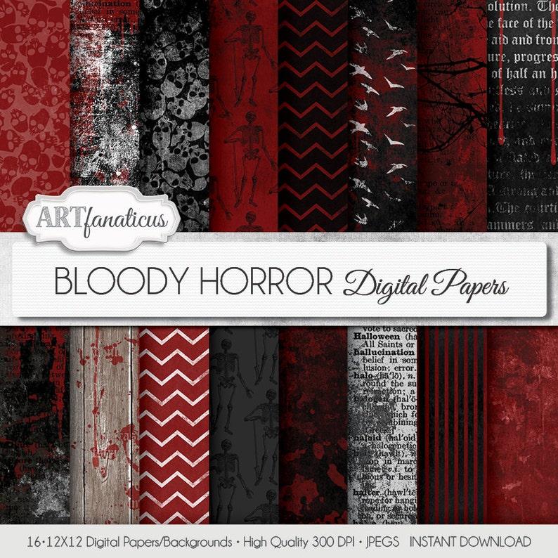 Halloween digital papers BLOODY HORROR Bloody image 0