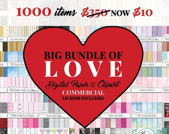 Big Bundle of Love 1000 high quality digital papers & cliparts - romance, wood, frames, gold, glitter, labels, chalkboards, chalk clip art