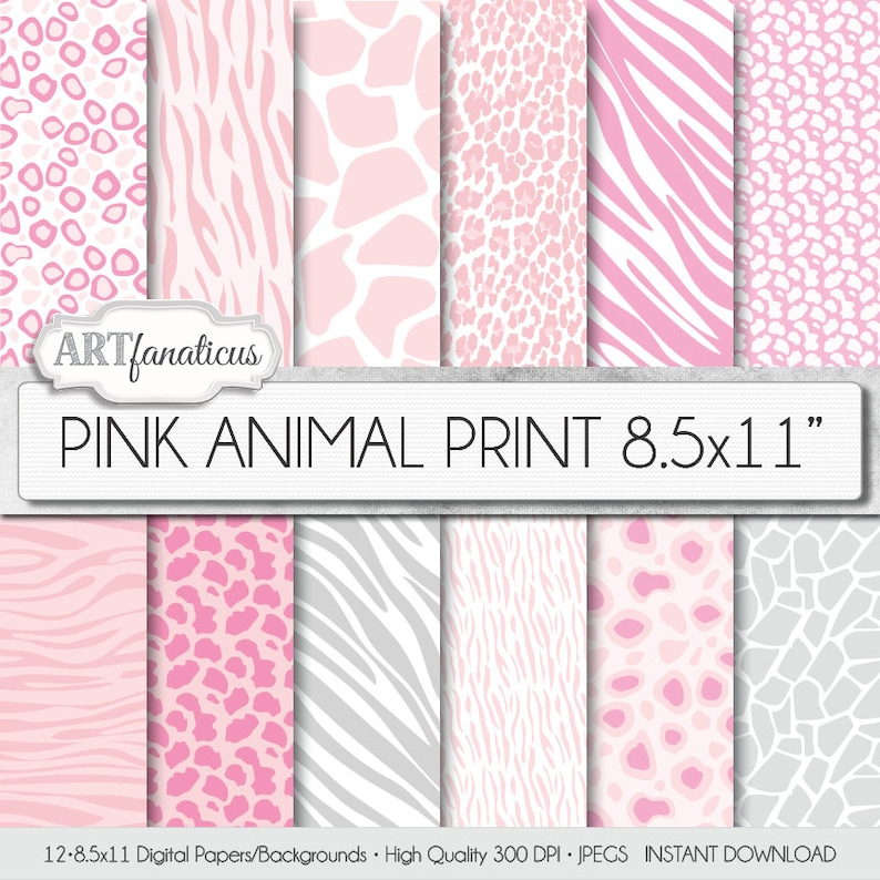 ANIMAL PRINT 8.5x11 digital papers pink and white background image 0