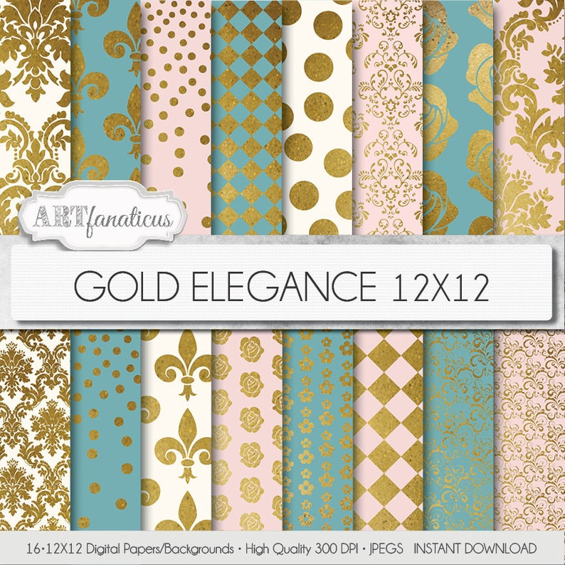Gold digital papers Gold Elegance Backgrounds image 0