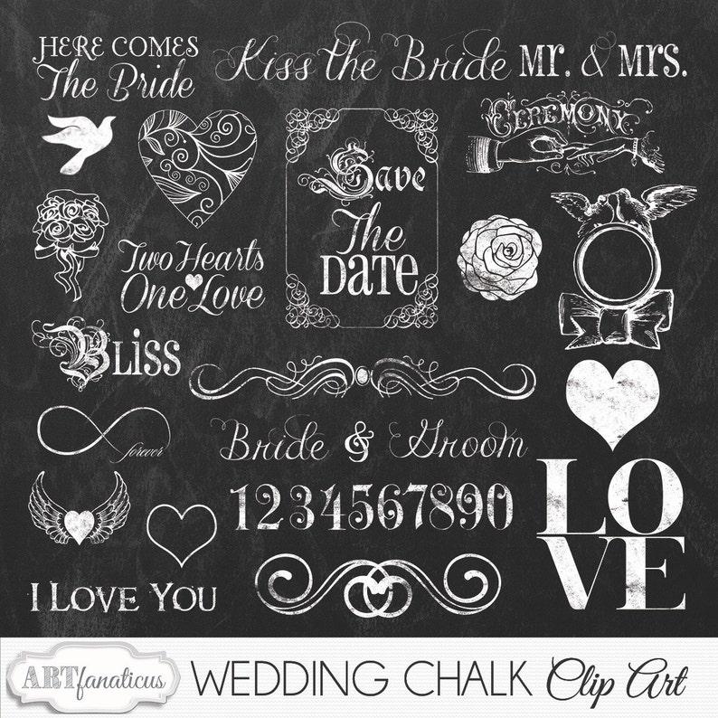 Wedding Chalkboard Cliparts WEDDING CHALK Clipart image 0