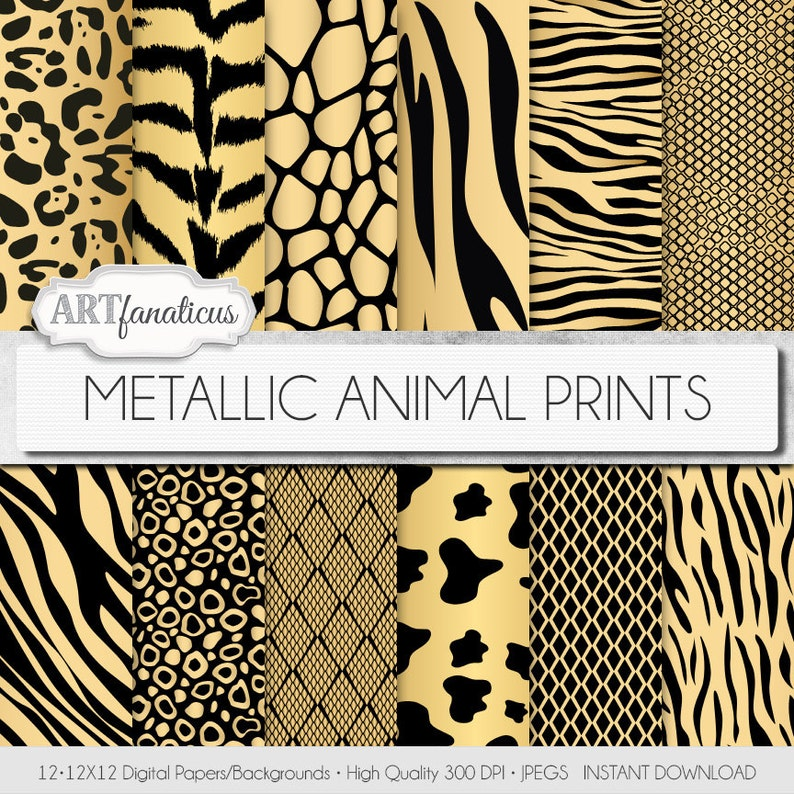 METALLIC ANIMAL PRINTS 12x12 digital paper metallic gold image 0