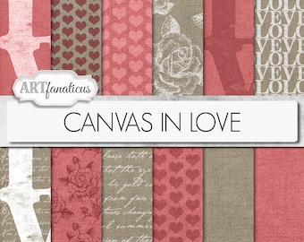 """Digital canvas papers """"CANVAS IN LOVE"""" canvas texture with hearts, roses, red canvas, love, script poem, for scrapbooking, invitation, blogs"""