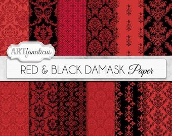 "Boudoir digital papers ""RED & BLACK DAMASK"" elegant, black, red, damask for weddings, scrapbooking, invites, cards, home décor and more"
