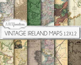"Vintage maps digital paper, ""VINTAGE IRELAND MAPS"" travel,antique maps, dublin, old world Ireland, sepia ireland maps, scrapbooking"