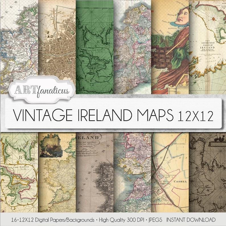 Vintage maps digital paper VINTAGE IRELAND MAPS image 0