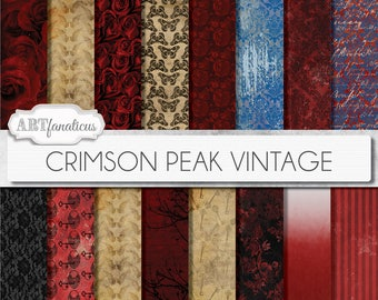 """Victorian Gothic Digital Papers inspired by """"Crimson Peak Vintage"""" with rich reds, blues, antique torn papers, love letters, skulls, roses"""