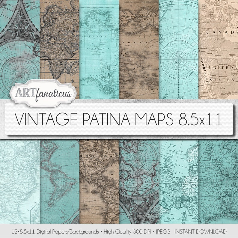 Vintage maps 8.5x11 digital papers VINTAGE PATINA MAPS image 0