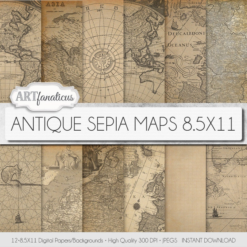 Digital maps 8.5x11 digital paper ANTIQUE SEPIA MAPS image 0