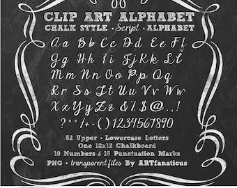"Chalkboard Clip Art ""ALPHABET CHALK SCRIPT"" 1 chalkboard, 52 uppercase & lowercase cursive letters, 10 numbers, 15 punctuation, PNGs"