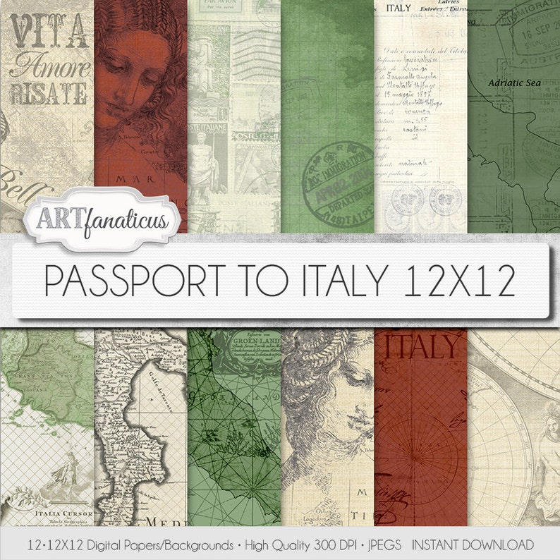 Vintage Maps digital papers PASSPORT TO ITALY image 0