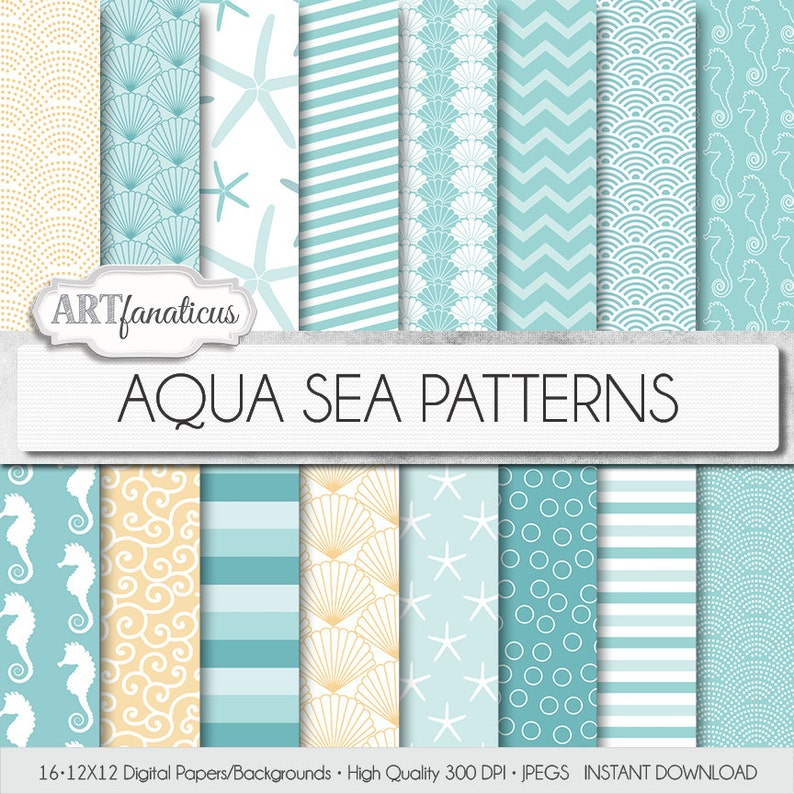 Beach digital papers AQUA SEA PATTERNS teal image 0