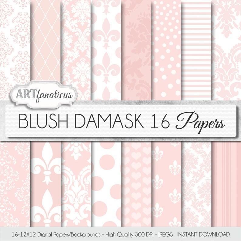 Blush Damask digital papers BLUSH DAMASK elegant image 0