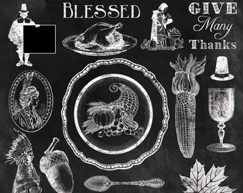 "Thanksgiving Clipart ""VINTAGE THANKSGIVING CHALK Clip Art"" 50 chalkboard, autum,turkey day, blessed, overlay, photographers, invitations"