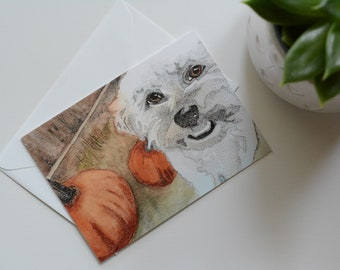 Henry with pumpkins - Rescued Dog Notecard