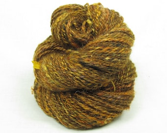 Handspun 2-ply Yarn, from Kid Mohair dyed shades of brown, amber and gold