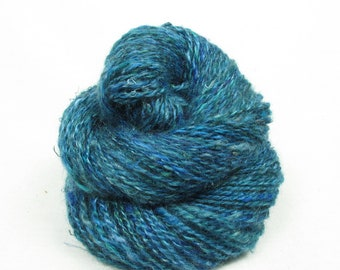 Handspun 2-ply Yarn, from Kid Mohair dyed shades of blue with banana silk added in