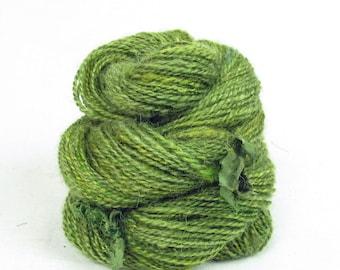 Handspun 2-Ply Yarn.Kid Mohair, Teeswater, Silk. Hand dyed, in shades of green.
