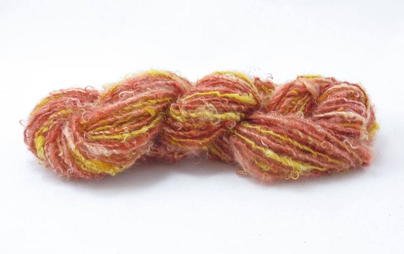 Hand dyed in shades of rose and gold Single Handspun Yarn