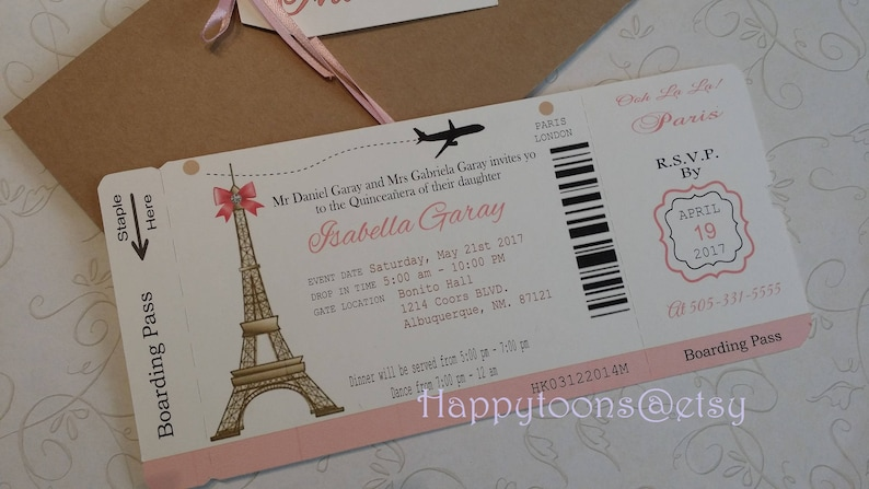Paris Boarding Pass Invitation Diy Boarding Pass Invite Etsy