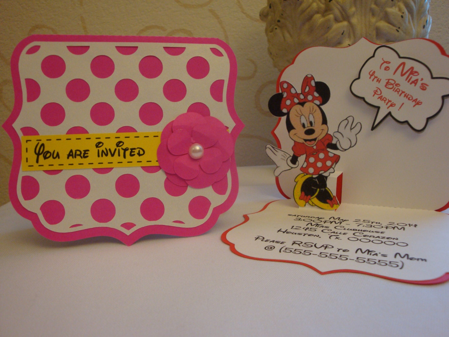 Minnie mouse Pop-up birthday party invitation set of 8 | Etsy
