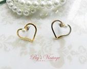 Lovely Vintage Heart Earrings Gold Tone Open Heart Earrings Pierced Earrings With Faux Pearl