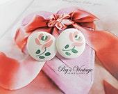 Vintage White Plastic Flower Earrings Pink Flower Round Button Pierced Earrings