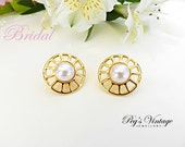 Vintage Faux Pearl Gold Tone Pierced Earrings, Wedding Bridal Jewelry
