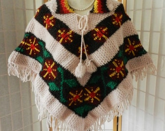 f4171dff93d5f9 Beautiful Vintage Hand Knitted Poncho Cape, Floral Print Knit Handmade  Poncho, Sweater Shawl, One Size Fits Most