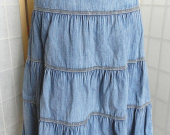 8448d08a4ca Denim Vintage Boho Cotton Ruffle Skirt
