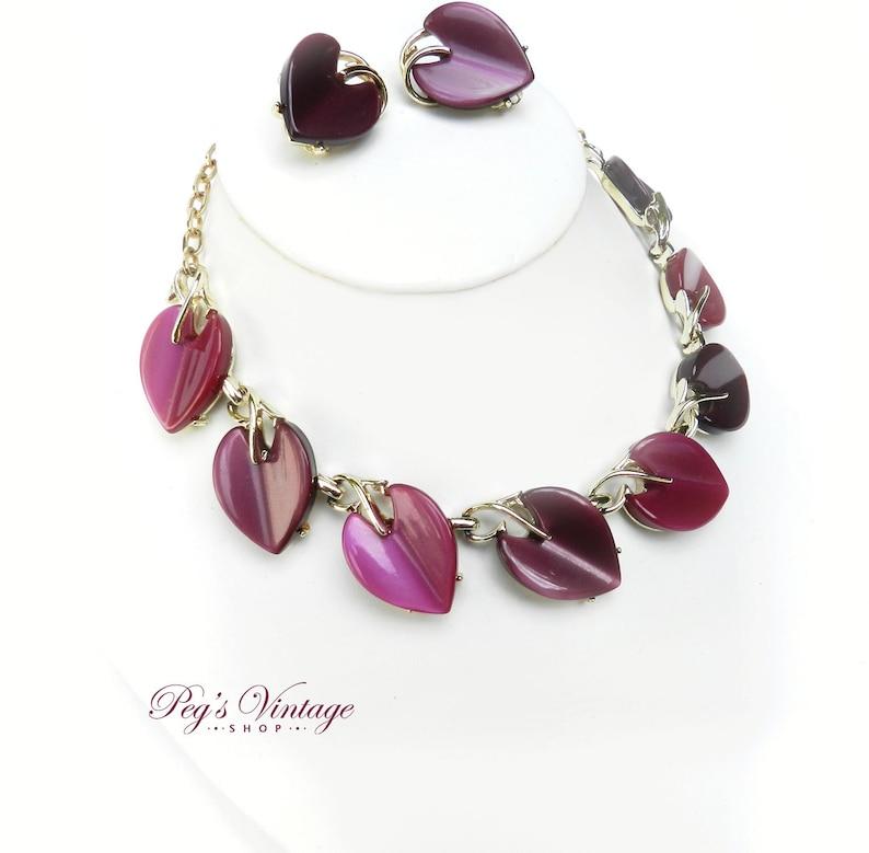 Unique Demi Parure  Jewelry Clip On Coro Earrings /& Necklace Vintage Coro PurpleFuchsia Thermoset Lucite Necklace Set