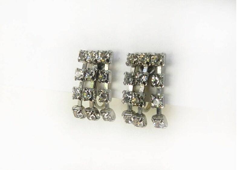 Rhinestone Dangles Silver Tone Signed Jewelry Screw Backs Vintage Coro Earrings