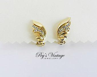 Vintage Sparkling Rhinestone Earrings / Shiny Gold Tone Leaf Clip On Earrings ( Pristine )
