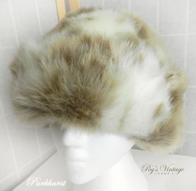 6d5a8cdfe36 Parkhurst Beige Brown Faux Fur Hat Vintage Ladies Fun Fur