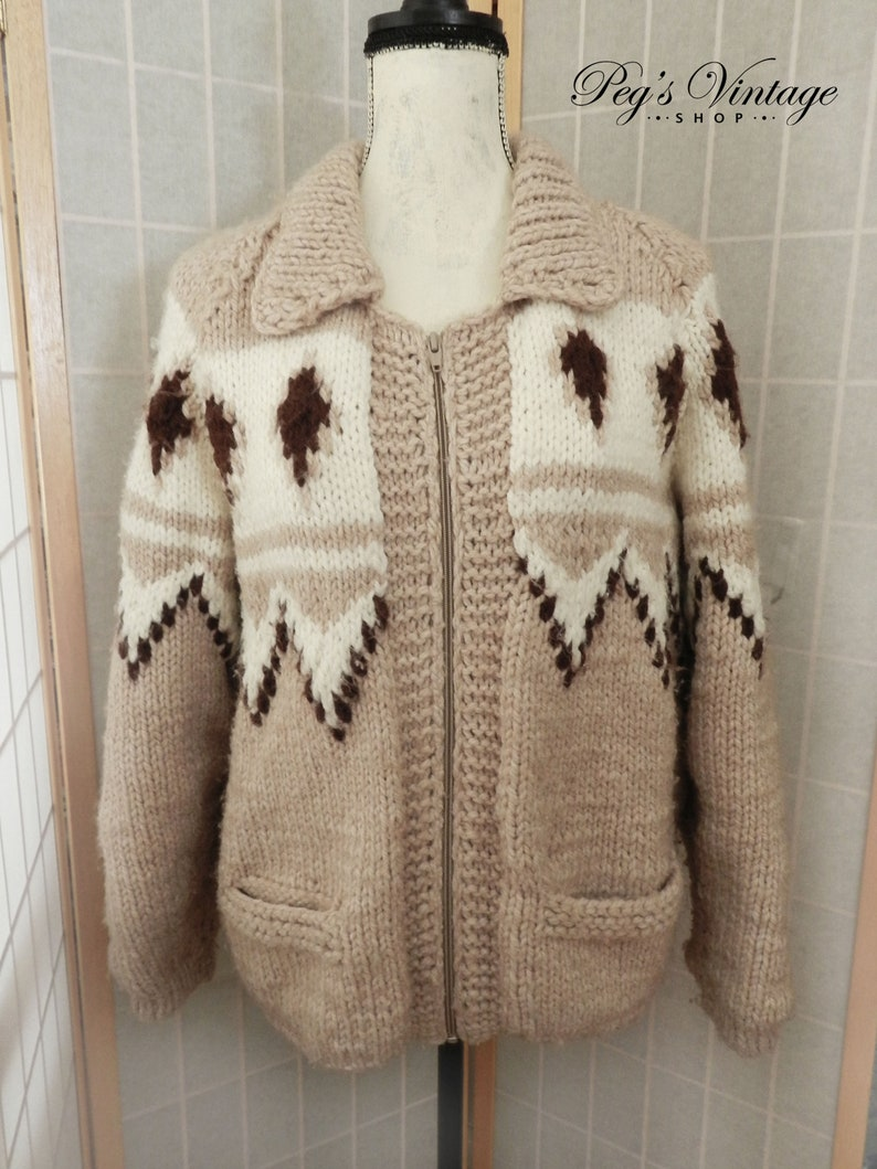 35a4bf9a40d9 60 s Cable Knit Cowichan Cardigan Mary Maxim Sweater