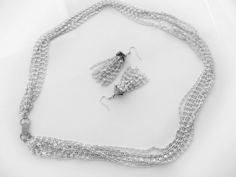 Multi Strand Necklace w Matching Chandelier Earrings Vintage Celebrity Silver Aluminium Necklace Set