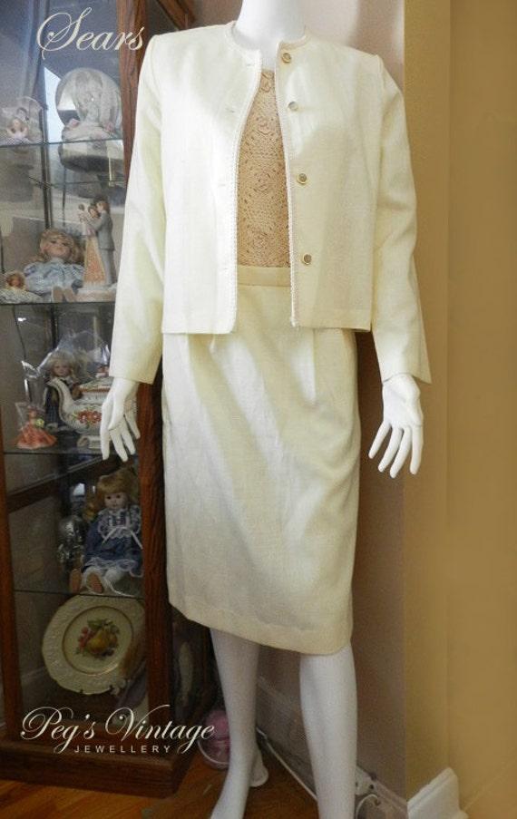 Vintage Sears 2 Piece Skirt Suit Cream Color Skirt Suit Etsy