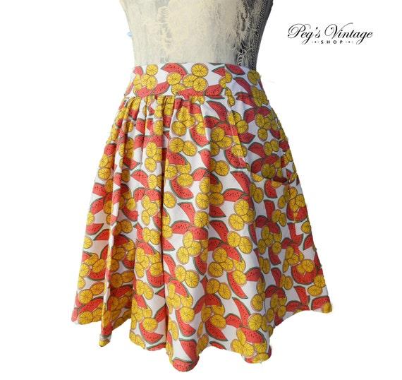 e09a5939b Vintage Fruit Print Skirt Size M/L Watermelons Lemons | Etsy
