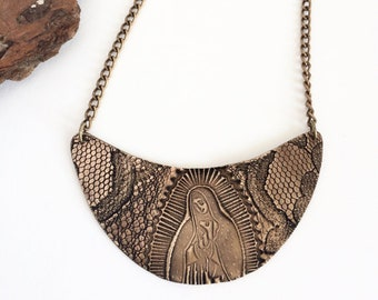 Our Lady of Guadalupe in Lace, Bronze or Sterling Silver Crescent Bib Necklace