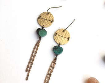 Long Turquoise Hearts and Brass Crescent Earrings