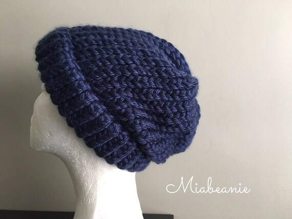 Thick Knit Beanie Hat Chunky Knit Hat Navy Blue Beanie Hat  a9f3c6cfe88
